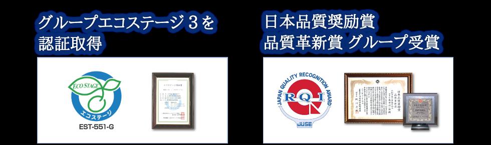 国内初のグループ エコステージ2を認証取得 日本品質奨励賞 品質革新賞 グループ受賞